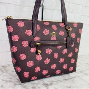 Coach Rose Print Top Zip Taylor Tote